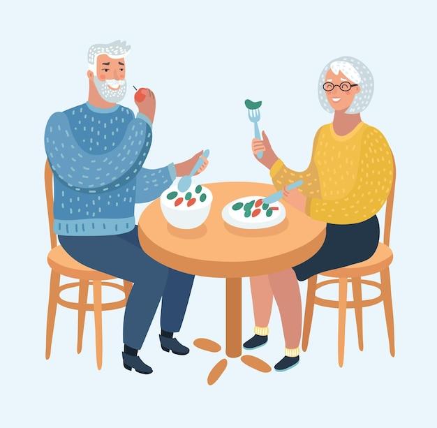 Illustratie van een ouder echtpaar dat eet in een gastronomisch restaurant