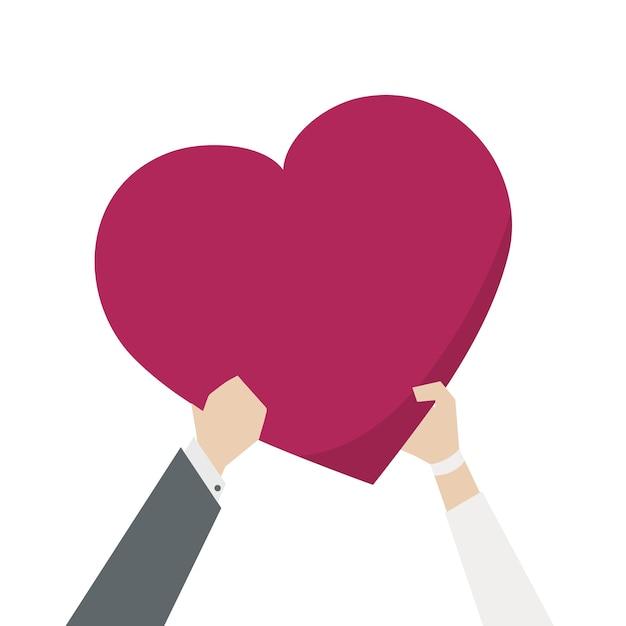 Illustratie van een paar dat een hart houdt