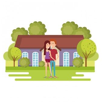 Illustratie van een paar liefhebbers weg van huis