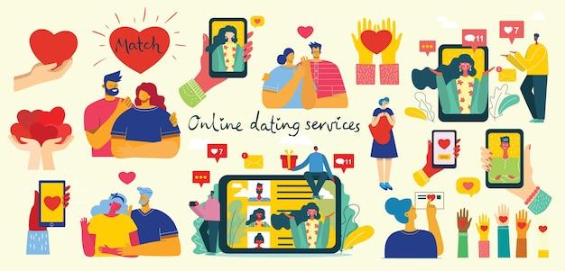 Illustratie van een paar met een online romantiek