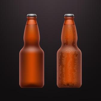 Illustratie van een paar realistische koude bierflessen op donker