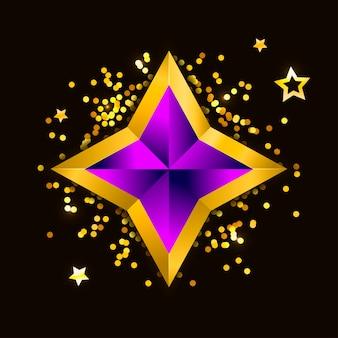 Illustratie van een paarse gouden ster op stalen achtergrond. bestand nieuwjaar kerstmis