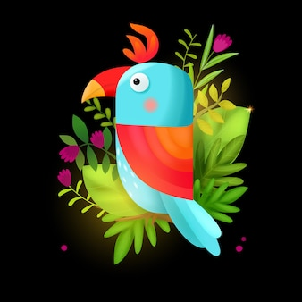 Illustratie van een papegaai met bloemen
