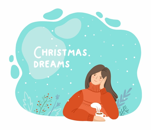 Illustratie van een peinzend meisje met een kerstsfeer