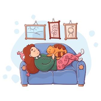 Illustratie van een persoon die thuis ontspant