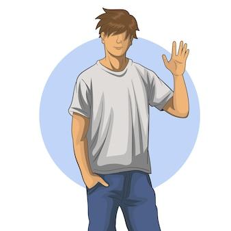 Illustratie van een persoon die zwaait
