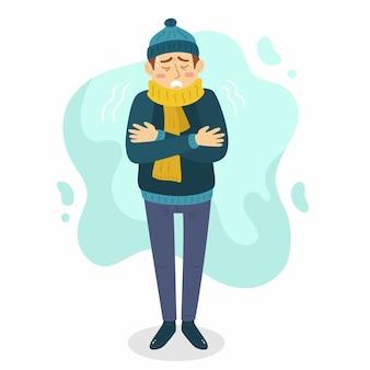 Illustratie van een persoon met een verkoudheid