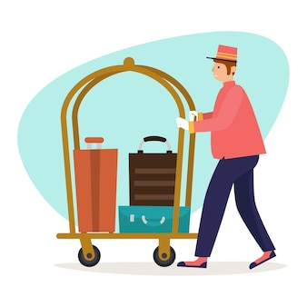 Illustratie van een piccolo die bagage en tassen draagt van een hotelbezoeker die een karretje gebruikt