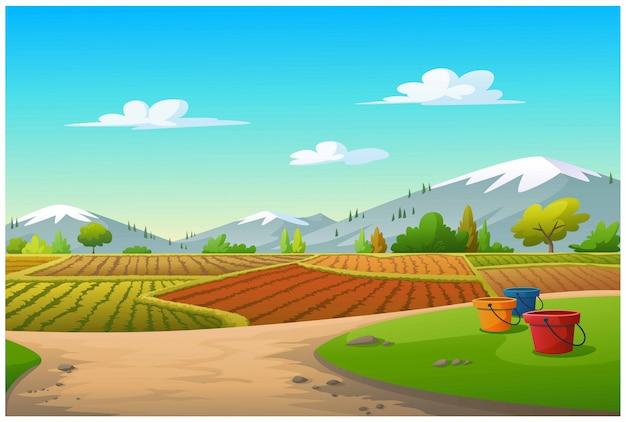 Illustratie van een plantaardig perceel en een berg in de ochtend.