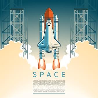 Illustratie van een platte stijl raket opstijgt