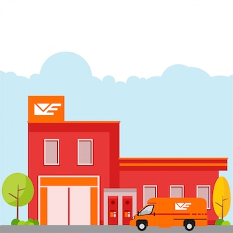 Illustratie van een postkantoor op witte achtergrond wordt geïsoleerd die