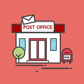 Illustratie van een postkantoor