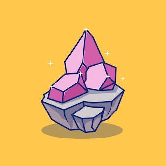 Illustratie van een prachtig kristalsteenontwerp op een rotsblok geïsoleerd objectontwerp premium