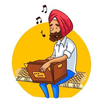 Illustratie van een punjabi-sardar-mens die harmonium speelt.