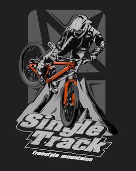 Illustratie van een racer die bergafwaarts gaat, één spoor