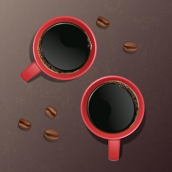 Illustratie van een realistische kop koffie met koffiebonen, bovenaanzicht. illustratie