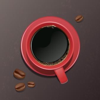 Illustratie van een realistische kop koffie met koffiebonen, bovenaanzicht.