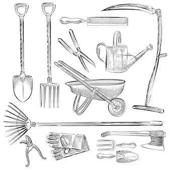 Illustratie van een reeks tuingereedschap