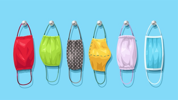 Illustratie van een reeks verschillende opgehangen gezichtsmaskers van textiel