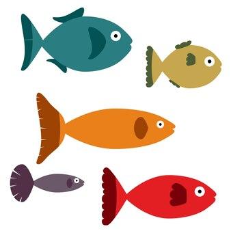 Illustratie van een reeks verschillende vissen. geïsoleerd op een witte achtergrond.