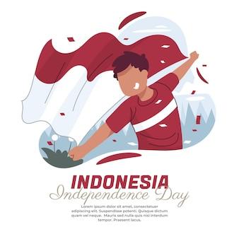 Illustratie van een rennende persoon die met de indonesische vlag zwaait
