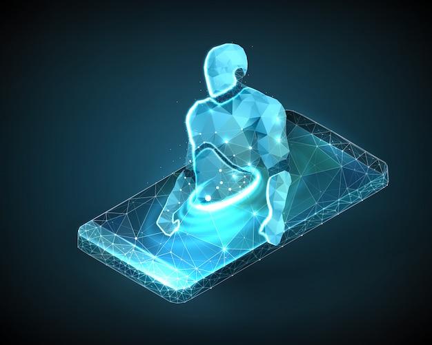 Illustratie van een robot draadframe op een mobiele telefoon