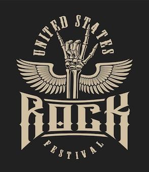 Illustratie van een rotshandteken met vleugels op een donkere achtergrond. perfect voor t-shirts en vele andere