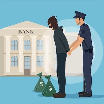 Illustratie van een rover met geldzakken gearresteerd door politie