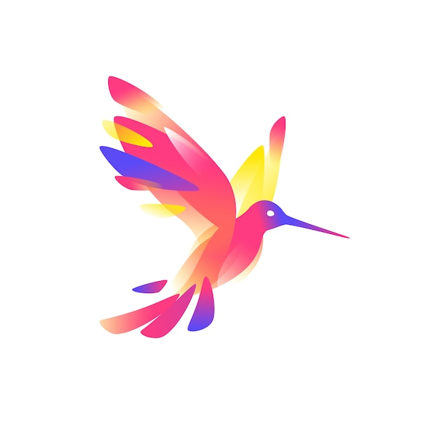 Illustratie van een roze colibri