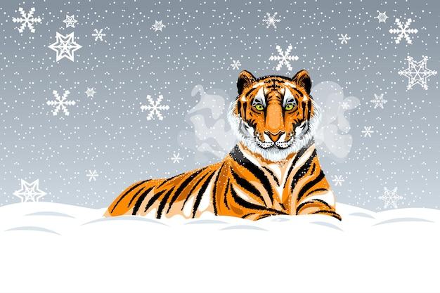 Illustratie van een rustende roodharige tijger op de achtergrond van een besneeuwde winterdag.