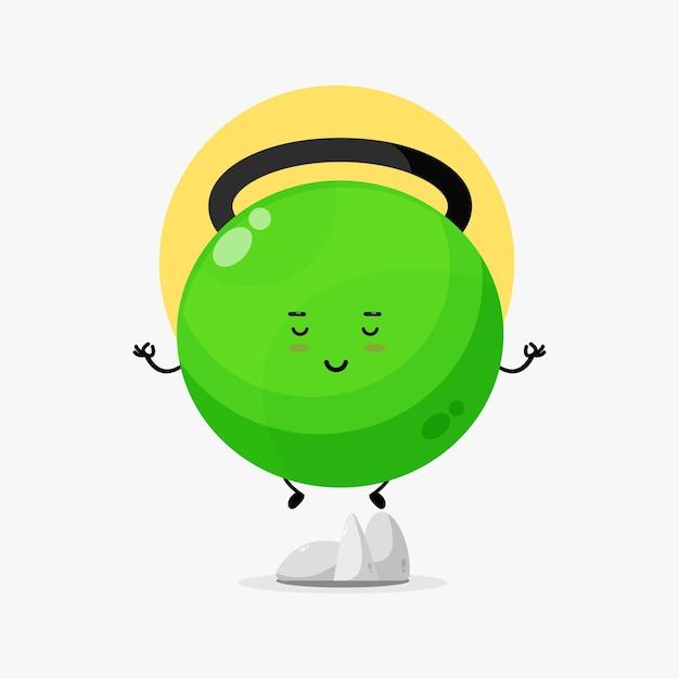 Illustratie van een schattig fitness kettlebell-personage dat mediteert