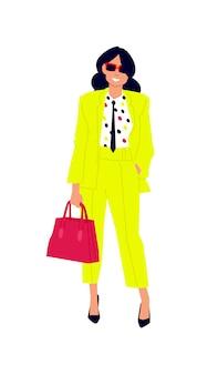 Illustratie van een schattig meisje in een geel pak.