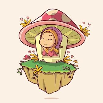 Illustratie van een schattig meisje in het paddenstoelenhuis handgetekende kunst