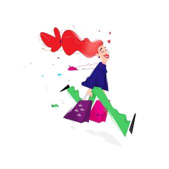 Illustratie van een schattig meisje met winkelen