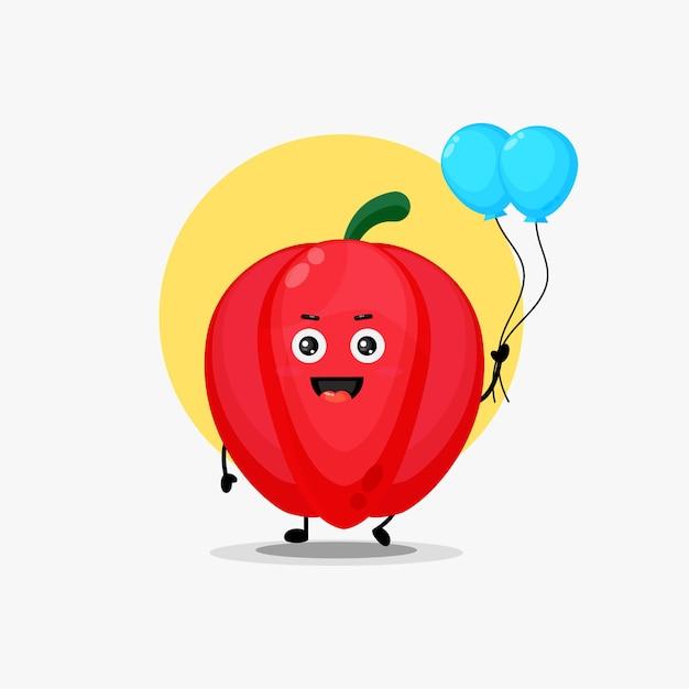 Illustratie van een schattig paprikakarakter met ballon