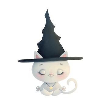Illustratie van een schattige cartoon heks kat mediteren. halloween-yoga