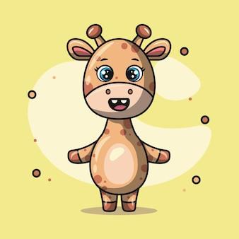 Illustratie van een schattige giraf die lacht