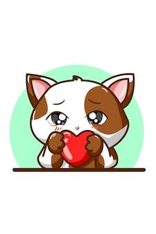 Illustratie van een schattige kat in witbruine blaster met liefde