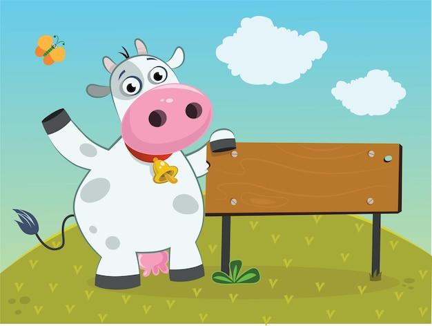 Illustratie van een schattige koe poseren met uithangbord
