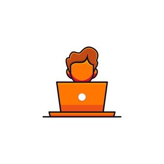 Illustratie van een schattige man die voor een laptop in cartoonstijl werkt