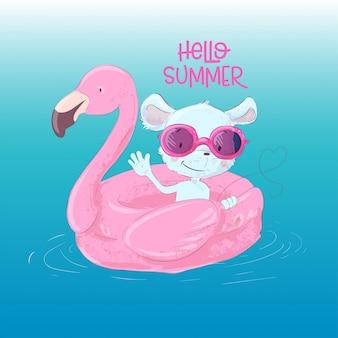 Illustratie van een schattige maus op een opblaasbare cirkel in de vorm van een flamingo. hallo zomer