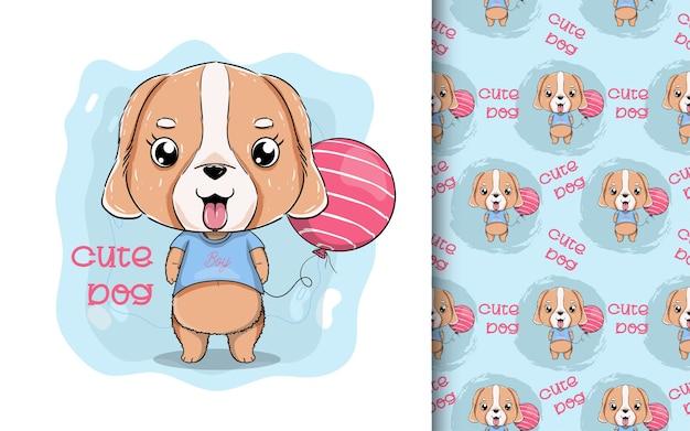Illustratie van een schattige puppy met ballon.