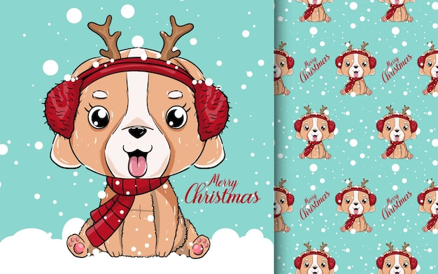 Illustratie van een schattige puppy met sneeuw.