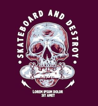 Illustratie van een schedel die een skateboard bijt