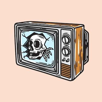 Illustratie van een schedel die opduikt van een ouderwetse televisie in vintage stijl