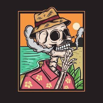 Illustratie van een schedel die terloops rookt op een strandachtergrond