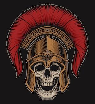 Illustratie van een schedel in een spartaanse helm op een donkere achtergrond. alle extra kleuren in een aparte groep.