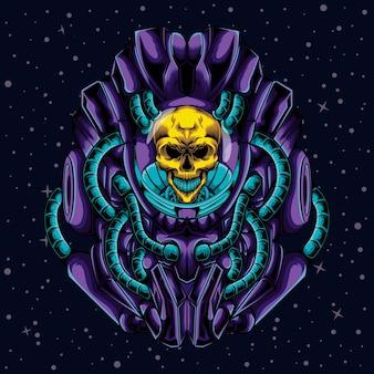 Illustratie van een schedel met een robot in de ruimte