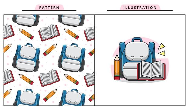 Illustratie van een schooltas, een boek en een potloodpictogram met naadloos patroon, terug naar schoolconcept.