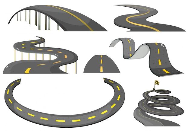 Illustratie van een set wegen